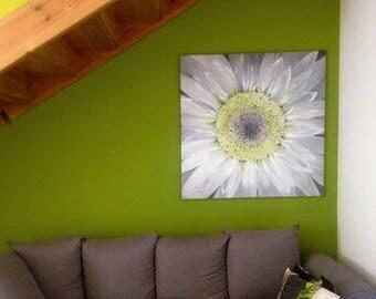 Large flower painting. Watercolor flower painting. Flower wall art painting. Large original painting. Large daisy painting. White daisy