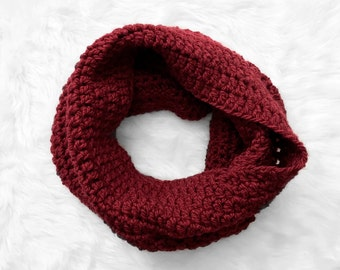 The Super Mega Comfy Cowl in red, crochet cowl, crochet chunky cowl, crochet scarf, warm and squishy cowl, READY TO SHIP!