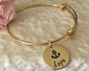 Hope Anchors the Soul Hebrews 6:19 Scripture Bracelet Aluminum Brass Bangle Bracelet Adjustable Bracelet Hand Stamped
