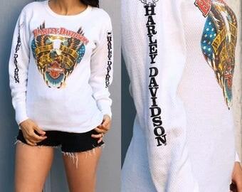 Vintage Harley Davidson Shirt/ Harley Shirt/ Harley Davidson Thermal Shirt White Sacred Honor Eagle