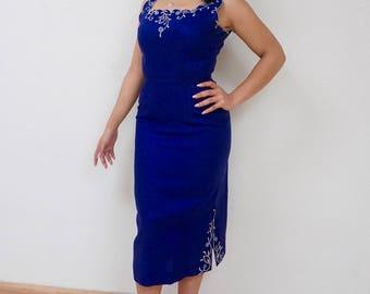 Blue Bombshell Wiggle Dress with Matching Jacket