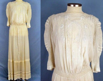 1900s Dress /  Edwardian Tea Dress / Embroidered Gauze