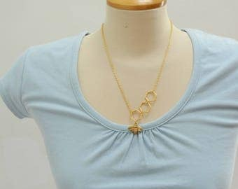 Gold Honey Comb and Bee Necklace - Ready to Ship