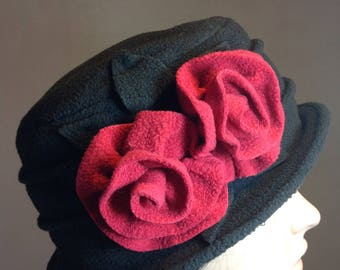 Black and raspberry fleece winter Hat you
