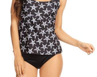 Over The Shoulder Tankini Set, two piece set, swimwear, swimsuit, bathing suit, cheetah prints, bikini top and bottom,