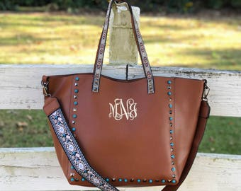 Guitar Strap Handbag, IN STOCK!!  Guitar Strap Purse, Monogram Guitar Strap Handbag Purse, Studded Purse, Embroidered Strap Bag, Brown Purse