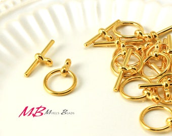 12 Sets Gold Plated Toggle Clasps, 17mm