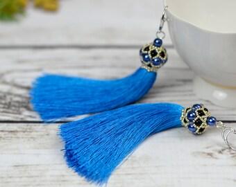 Beauty gift for sister tassel earrings blue statement earrings bohemian jewelry dangle earrings fringe earrings fashion earrings long boho