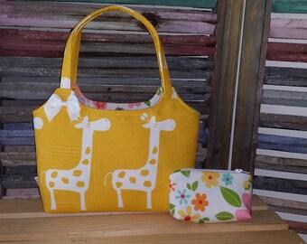 Giraffes in Yellow Little Girl Purse