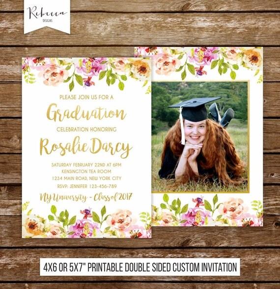 Graduation invite girl graduation party invitation floral invitation il570xn filmwisefo