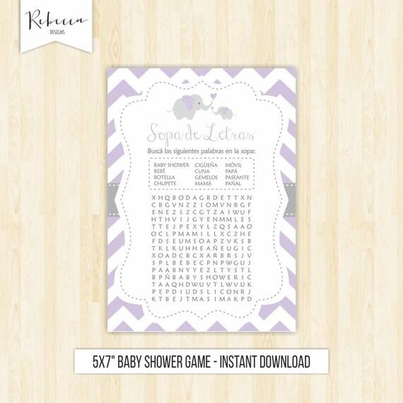 Sopa De Letras Baby Shower Lavender Wordsearch Game In Spanish Baby Shower Spanish Espa 241 Ol
