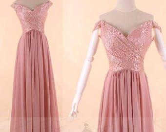 Bridesmaid Dress Dusty Rose,Off Shoulder Prom Dress 2018,Lace Chiffon Wedding Dress,Maxi Party Dress ,Evening Gown Dress Floor Length,