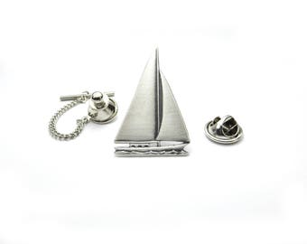Large Sailboat Tie Tack in Sterling Silver Ox Finish- Gifts For Men- Tie Tack or Pin