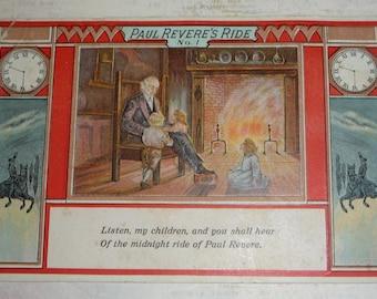 The Midnight Ride of Paul Revere Antique Patriotic Postcard
