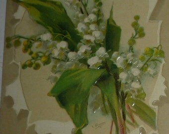 Lovely Lilies of the Valley A/S Catherine Klein Antique Postcard Greeting