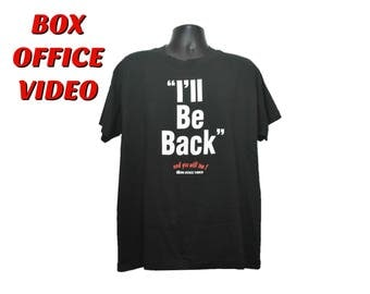 "90s ""I'LL BE BACK"" Box Office Video T-Shirt Size xl Extra Large Mens Womens Discontinued Video vhs Store Rent Movies Black Tee Terminator"