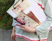 50% Off SALE Alice in Wonderland Pencil Case w Watercolour Illustration - korean stationery desk pencilcase fabric cute white rabbit story