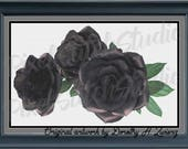 Black Roses, Beautiful Halloween Floral, Gothic Flowers Digital Download Counted Cross Stitch Pattern