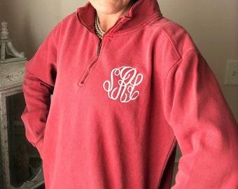 Monogrammed Quarter Zip COMFORT COLORS pullover-- NEW for 2017  !!!!!