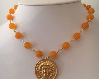 Orange Jade and Gold Necklace