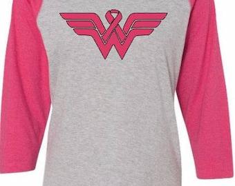 Wonder Woman Breast Cancer Awareness baseball 3/4 sleeve raglan Tee