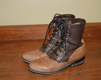Women Size 7 Vintage JUSTIN Brown Leather Ropers-90s fashion