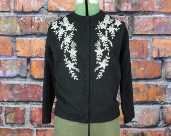 Vintage 1960s Beaded Angora Sweater