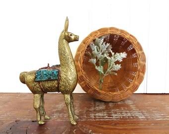 Vintage Brass Llama Figurine, Brass Alpaca Figurine, Collectible Brass Animal Figurine, Brass And Turquoise Colored Stone Pack Llama