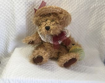 Brass Button Collectibles, Rosie, Bear of Joy, Pickford Bears, 1997, Brown Shaggy Bear, Straw Hat, Crochet Lace Collar, Glasses, Red Bow