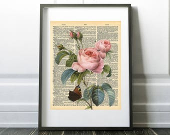 Pale Pink Fine Art Rose and Butterfly, vintage book art print, Digital Download, Printable Art, Home Decor,