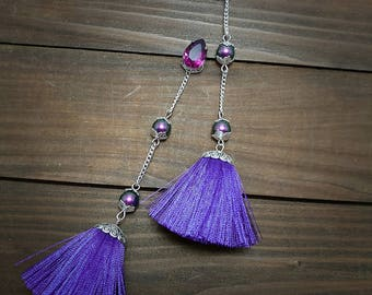 Violet tassel earrings Ultraviolet earrings Evening tassel jewelry Purple tassel earrings Swarovski earrings Pearls earrings Silver earring