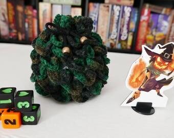 Dragon Scale - Green - DICE BAG - Crochet