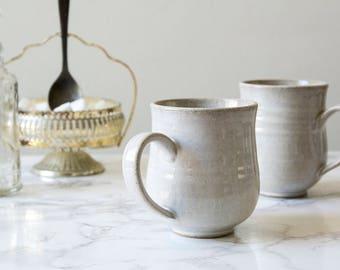Ceramic White Coffee Mug, Pottery Coffee Mug, Tea Mug, 10oz Mug, Wheel Thrown Mug, Gift for Her, Birthday Gift, Gift to Me