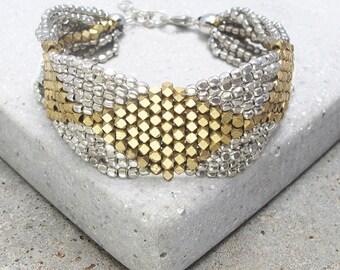 Silver and Gold Bracelet, Gold and Silver Bracelet, Beaded Silver Bracelet, Beaded Gold Bracelet, Geometrical Bracelet, Bohemian Bracelet