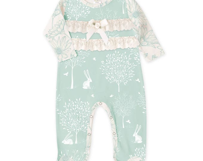 Baby Girl Footie Romper, Newborn Girl Footie Romper, Newborn Onesie Long Sleeve Baby Romper, Ruffles, Green Bunny Outfit, TesaBabe