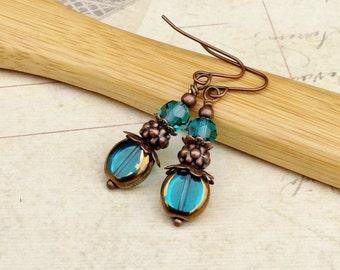 Blue Earrings, Teal Earrings, Copper Earrings, Copper Dangle Earrings, Czech Glass Beads, Green Earrings, Unique Earrings, Gifts for Her