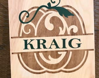 Birch Wood stained and hand painted Pumpkin Custom Last Name Sign
