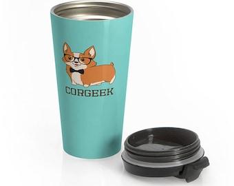 Corgeek Corgi Dog Travel Mug, Stainless Steel Coffee Travel Mug, Dog Outdoor Insulated Tumbler Cup Bottle, Dog Lover Corgi Gift