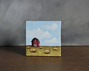 Barn Painting, Country Landscape, Miniature Canvas Painting, Farmhouse Decor, Mini Art, Rustic Landscape, Barn Art, Hay Bales Painting
