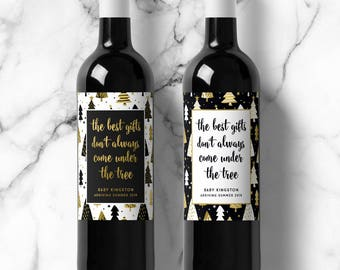 Christmas Pregnancy Announcement Wine Labels, Best Gifts Under the Tree, Winter Parents to Grandparents, Holiday Baby Announcement Labels