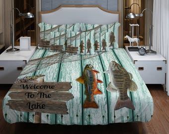 Lodge Welcome to the Lake  Bedding , Comforter or Duvet Cover , Twin, Full, Queen King, Throw Pillow