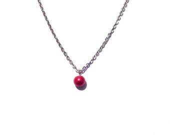 single pearl necklace, red pearl necklace, bead necklace, bridesmaid necklace, floating pearl necklace, necklace, chain necklace