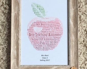 Word Cloud Shape 5x7 framed, Typography Framed Word Art Print, Word Picture, Word Cloud