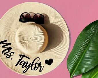 Mrs. Floppy Hat, Custom Floppy Hat, Floppy Sun Hat, Newly Engaged Gift, Mrs. Beach Hat, Honeymoon Beach Hat, Personalized Bride Gift, straw