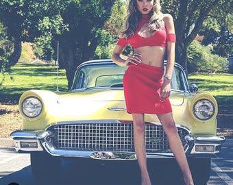 Red stretch jersey keyhole off the shoulder crop top & curved hem mini skirt