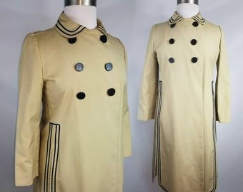 Mid-century Classic Khaki Double Breasted Trench Coat with Black Trim Detail Jackie O Style Size L