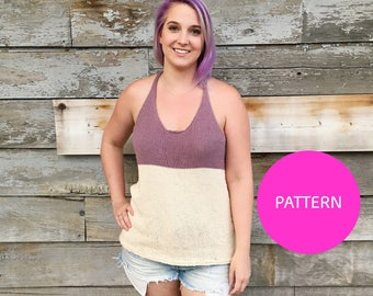PATTERN ONLY ** Colour Block tank, knit tank top, knit top, knit top pattern, knit pattern, knitting pattern, knit racerback, knit tank top