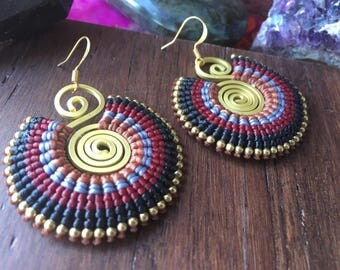 Tribal Bohemian Navy and Maroon Macrame Earrings made with Waxed Cotton and Brass Wire Boho Gypsy Festival