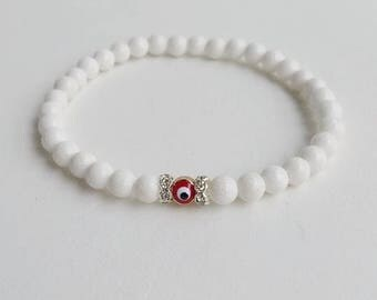 Man stone bracelet - Bead Bracelet - Gemstone Bracelet - stretch bracelet - beadwork bracelet - white man bracelet - gift for him boyfriend