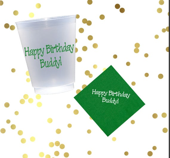 Happy birthday party cups, personalized plastic cup, birthday party favor, custom party favors, birthday napkins, kids birthday party cups